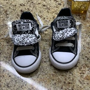 Toddler Converse Low Tops with floral tongue 7